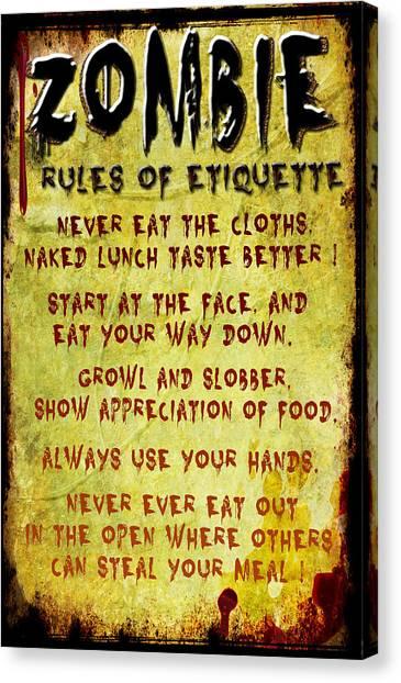 Zombie Etiquette Canvas Print