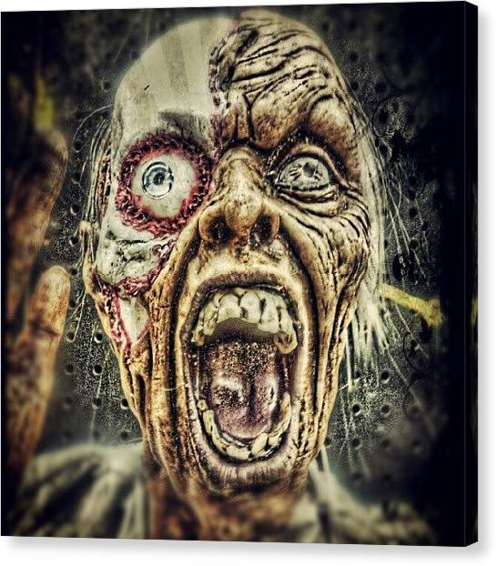 Horror Canvas Print - #zombie In #hdr! Halloween Is Near Are by Travis Albert