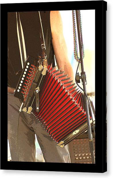 Zydeco Red Accordian Canvas Print by Margie Avellino