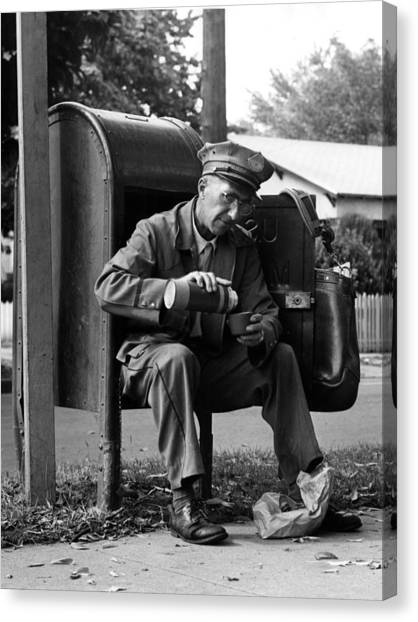 Mailman canvas print 1950s 1960s archive bag black white break coffee by mark goebel