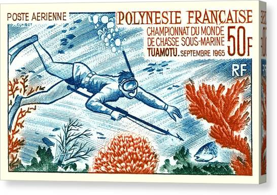 Scuba Diving Canvas Print -  1965 French Polynesia Spearfishing Postage Stamp by Retro Graphics