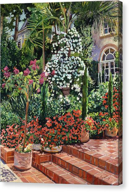 Beverly Hills Canvas Print -  A Garden Approach by David Lloyd Glover