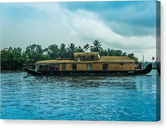 Tropical Canvas Print -  A House Boat Around The Backwaters In Alleppey, Kerala, India by Art Spectrum
