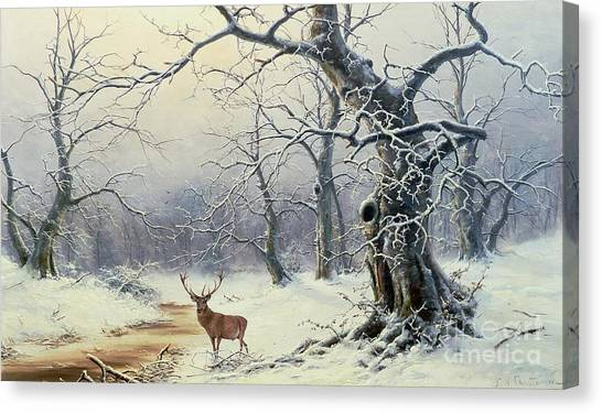 Trees In Snow Canvas Print -  A Stag In A Wooded Landscape  by Nils Hans Christiansen