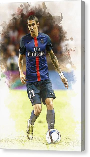 Zlatan Ibrahimovic Canvas Print -  Angel Di Maria Controls The Ball by Don Kuing