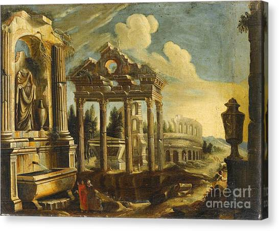 The Colosseum Canvas Print -  Architectural Capriccio With Ruins And The Colosseum by Celestial Images