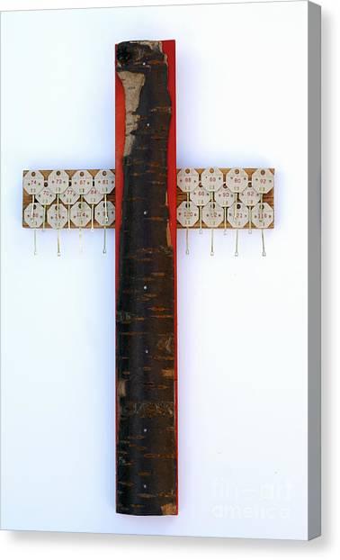 Bark Cross With Key Tags Canvas Print