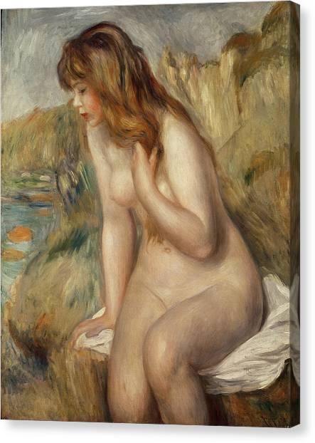 Pierre-auguste Renoir Canvas Print -  Bather Seated On A Rock by Pierre Auguste Renoir