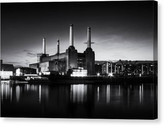 Pink Floyd Canvas Print -  Battersea Power Station In Monochrome by Ian Hufton
