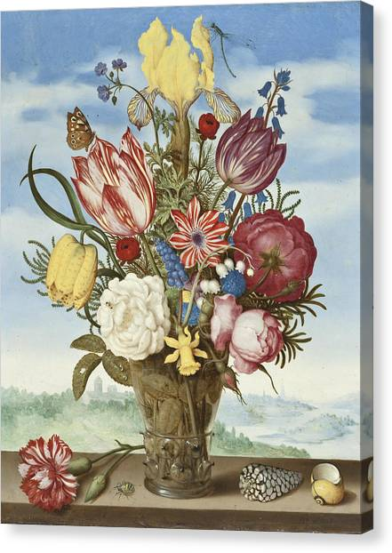 Dragon Fly Canvas Print -  Bouquet Of Flowers On A Ledge by Ambrosius the Elder Bosschaert