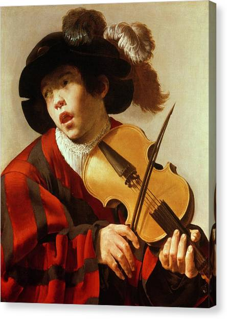 Violins Canvas Print -  Boy Playing Stringed Instrument And Singing by Hendrick Ter Brugghen