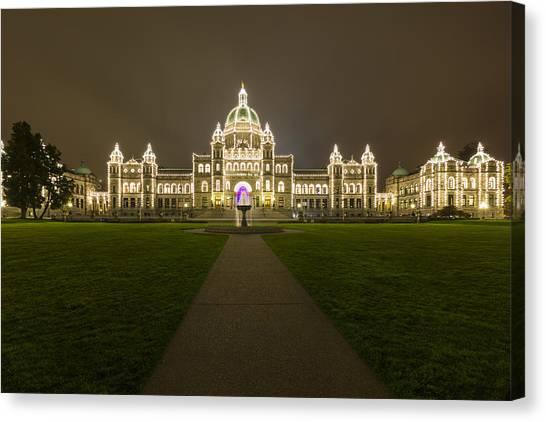 Parliament Canvas Print -  British Columbia Parliament Buildings At Night by Mark Kiver