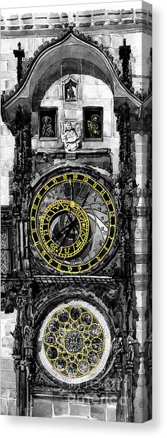 Supplies Canvas Print -  Bw Prague The Horologue At Oldtownhall by Yuriy Shevchuk