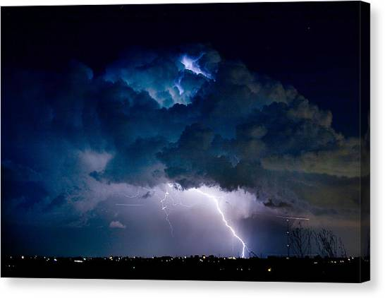 Clouds Of Light Lightning Striking Boulder County Colorado Canvas Print by James BO  Insogna