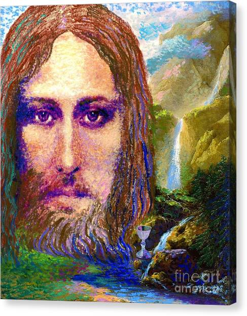 Sacred Canvas Print -  Contemporary Jesus Painting, Chalice Of Life by Jane Small
