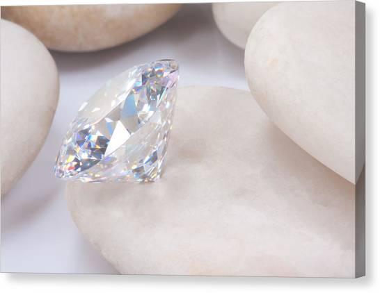 Gemstones Canvas Print -  Diamond On White Stone by Atiketta Sangasaeng