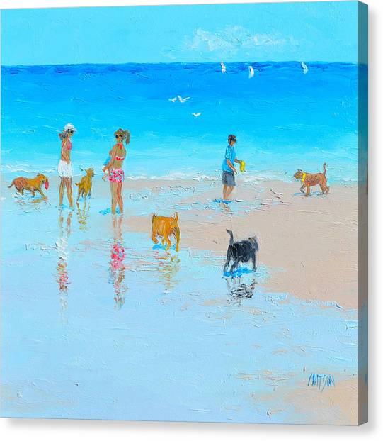 Dog Beach Day Canvas Print