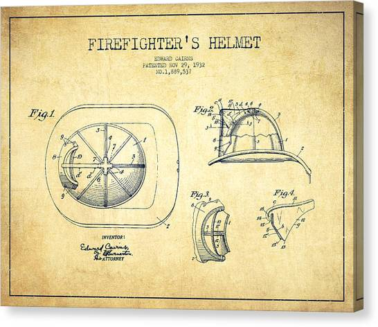 Firefighters Canvas Print -  Firefighter Helmet Patent Drawing From 1932 - Vintage by Aged Pixel