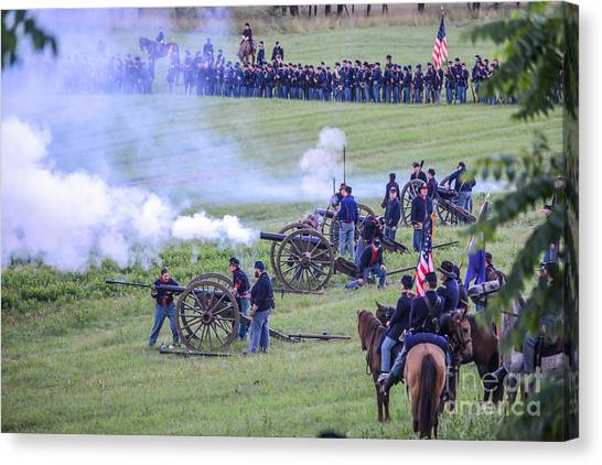 Gettysburg Union Artillery And Infantry 7439c Canvas Print
