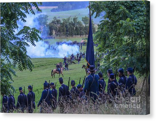Gettysburg Union Artillery And Infantry 7457c Canvas Print
