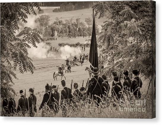 Gettysburg Union Artillery And Infantry 7457s Canvas Print