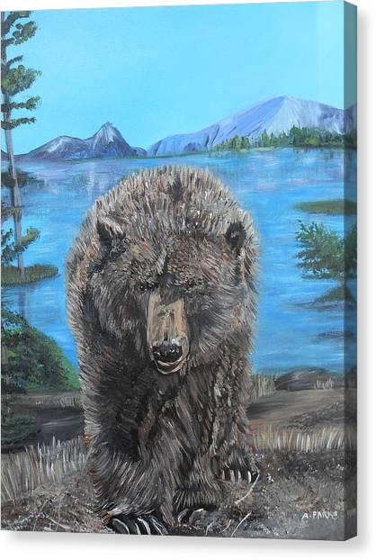 Hello Grizzley Bear Canvas Print
