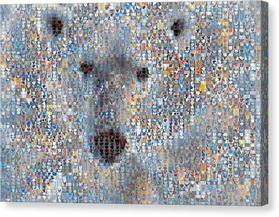 Holiday Hearts Polar Bear Canvas Print by Boy Sees Hearts
