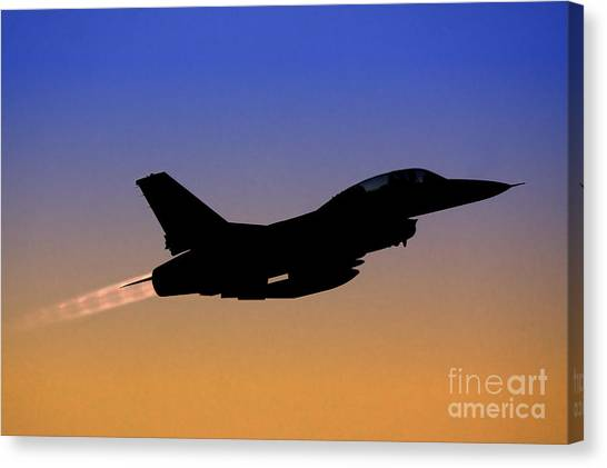 F16 Canvas Print -  Iaf F-16b Fighter Jet At Sunset by Nir Ben-Yosef