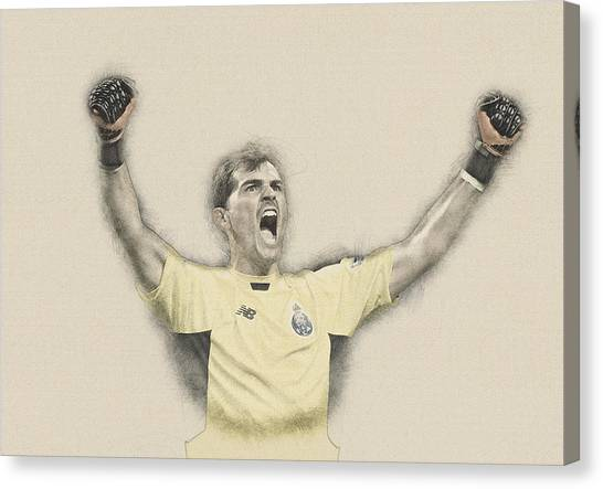 Wayne Rooney Canvas Print -  Iker Casillas  by Don Kuing