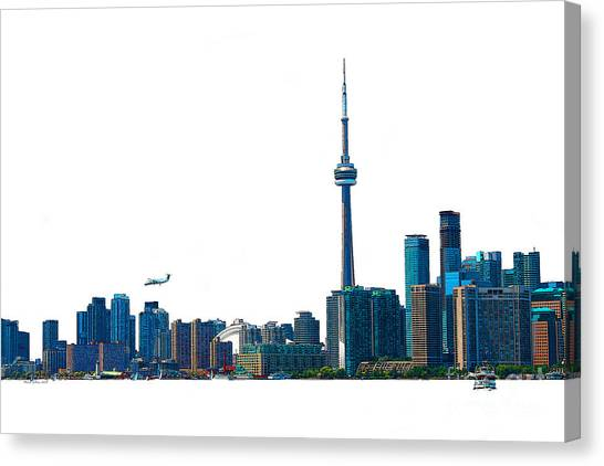 Toronto Fc Canvas Print - Toronto Harbourfront Skyline With Rogers Centre  Island Ferry And Plane by Nina Silver