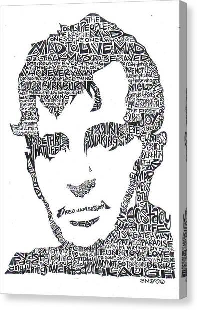Burnt Canvas Print -  Jack Kerouac Black And White Word Portrait by Kato Smock