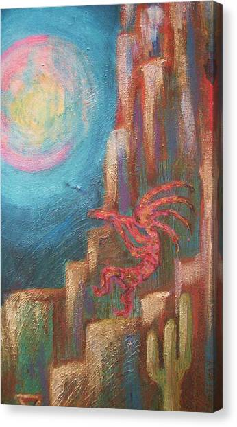 Kokopelli Moon Painting Canvas Print by Anne-Elizabeth Whiteway