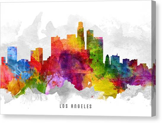 Los Angeles Skyline Canvas Print -  Los Angeles California Cityscape 13 by Aged Pixel