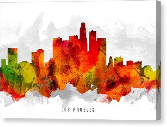 Los Angeles Skyline Canvas Print -  Los Angeles California Cityscape 15 by Aged Pixel