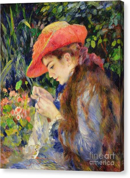 Sewing Canvas Print -  Marie Therese Durand Ruel Sewing by Pierre Auguste Renoir