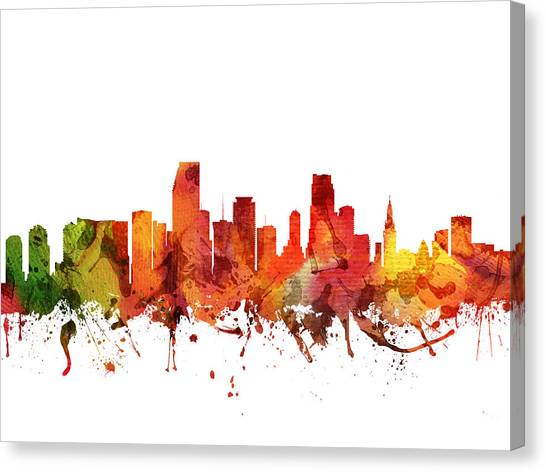 Miami Skyline Canvas Print -  Miami Cityscape 04 by Aged Pixel
