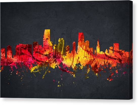 Miami Skyline Canvas Print -  Miami Cityscape 07 by Aged Pixel
