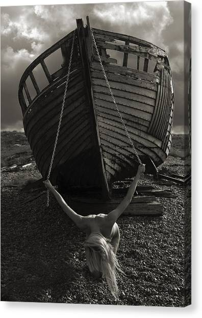 Artistic Nude Canvas Print -  Nude And Boat 3 by RTP Fine Art Photography