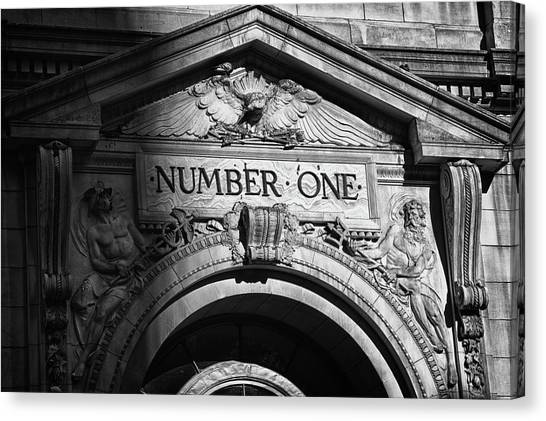 Number One Building In Black And White Canvas Print by Val Black Russian Tourchin