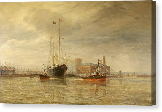 Royal Marines Canvas Print -  Opening Of The Royal Edward Dock, Avonmouth by Arthur Wilde Parsons