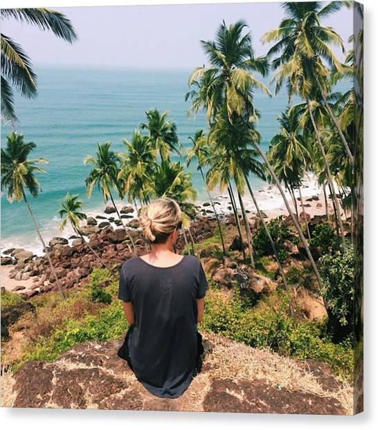 Beach Cliffs Canvas Print - Goa, India by Aleshea Allen