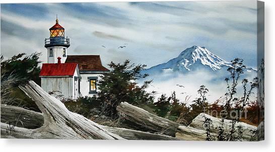Point Robinson Lighthouse And Mt. Rainier Canvas Print