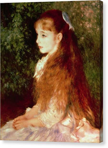 Sister Canvas Print -  Portrait Of Mademoiselle Irene Cahen D'anvers by Pierre Auguste Renoir