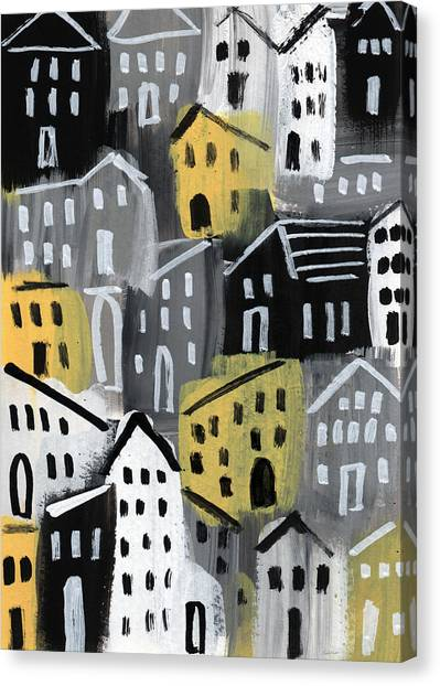 Villages Canvas Print -  Rainy Day - Expressionist Art by Linda Woods