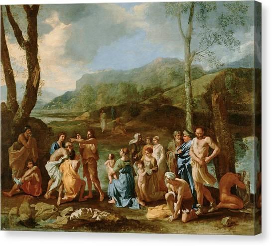 River Jordan Canvas Print -  Saint John Baptizing In The River Jordan by Nicolas Poussin