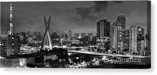 Sao Paulo Iconic Skyline - Cable-stayed Bridge - Ponte Estaiada Canvas Print