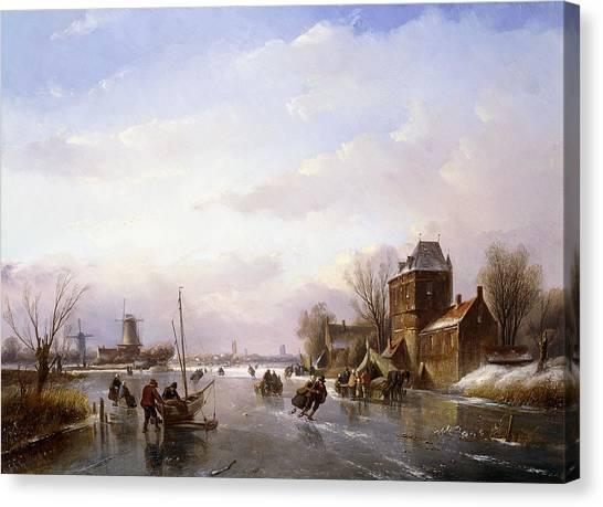 Figure Skating Canvas Print -  Skaters In A Frozen Landscape by Jan Jacob Spohler