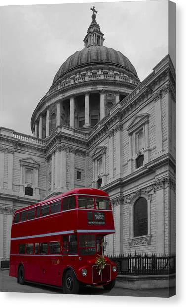 St Pauls Cathedral Red Bus Canvas Print