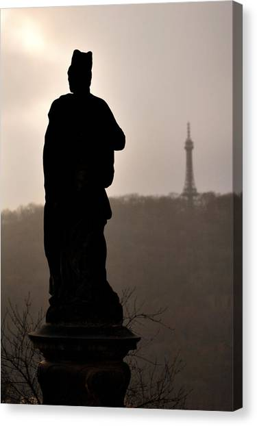 Statue And Petrin Tower Canvas Print
