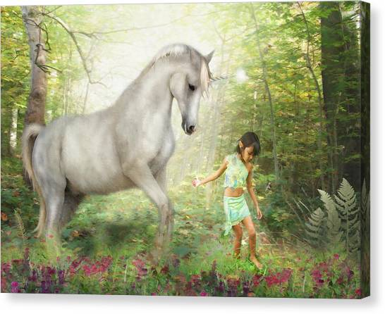 Stella And The Unicorn Canvas Print